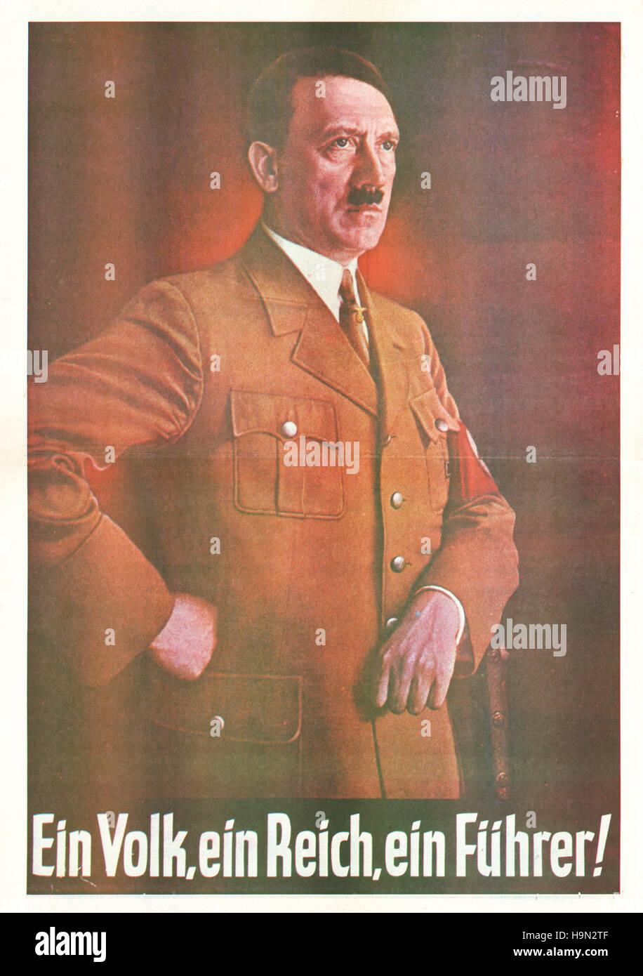 1930s Adolf Hitler 'Ein Volk, Ein Reich, Ein Führer' poster - Stock Image