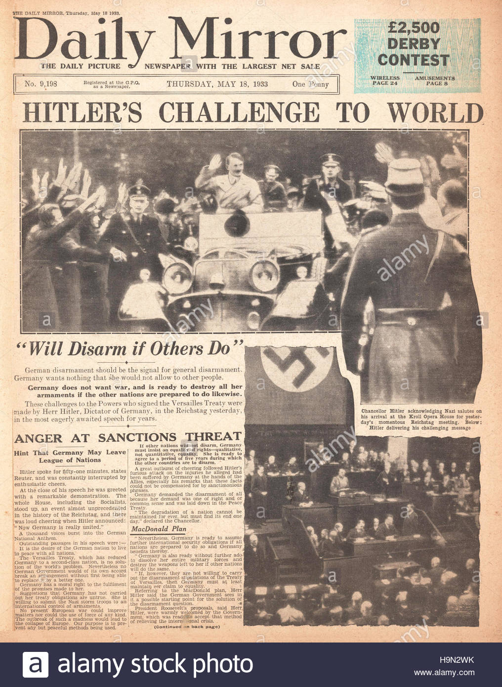 1933 Daily Mirror front page Adolf Hitler speech at the Reichstag - Stock Image
