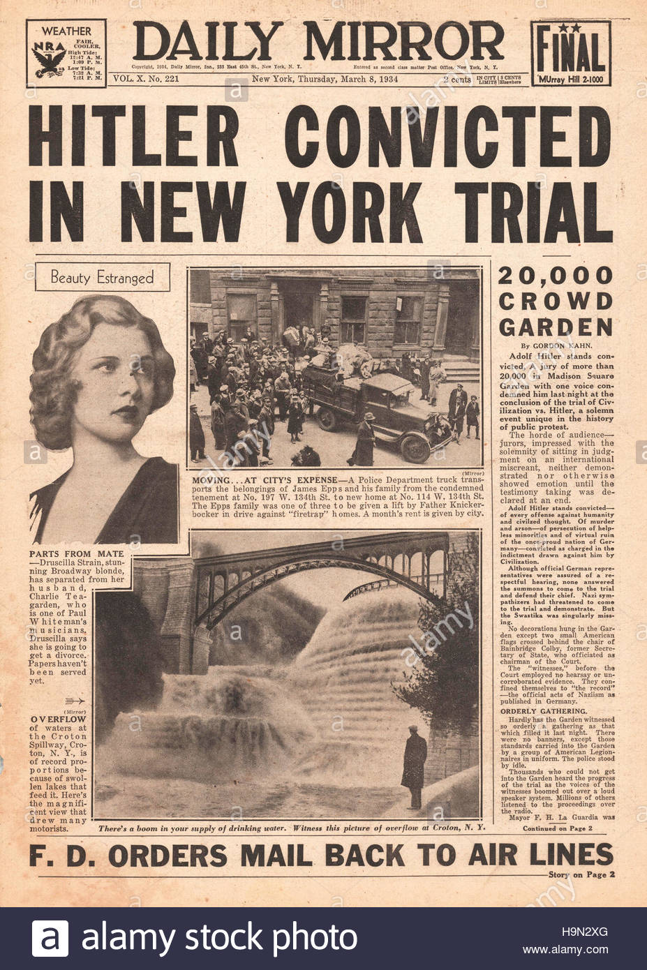 1934 Daily Mirror (New York) Adolf Hitler convicted in public trial Stock Photo