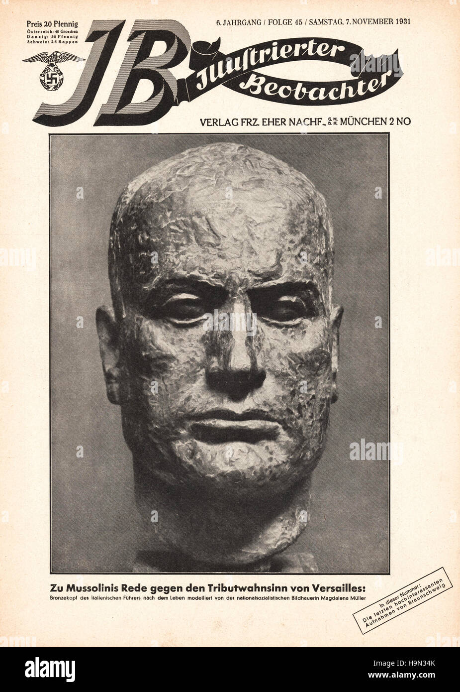 1931 Illustrierte Beobachter front page Benito Mussolini - Stock Image