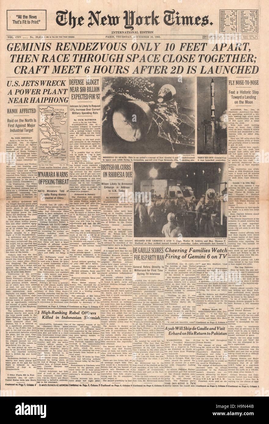 Front Pagenew York Times Design Of: 1965 New York Times Front Page Space Craft Gemini 6A And