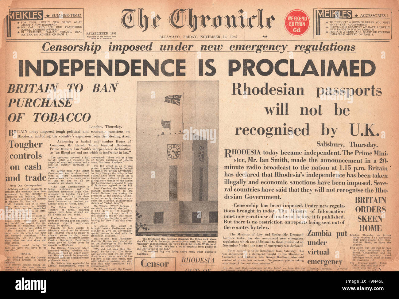 1965 The Chronicle (Rhodesia) Rhodesia signs UDI deal - Stock Image