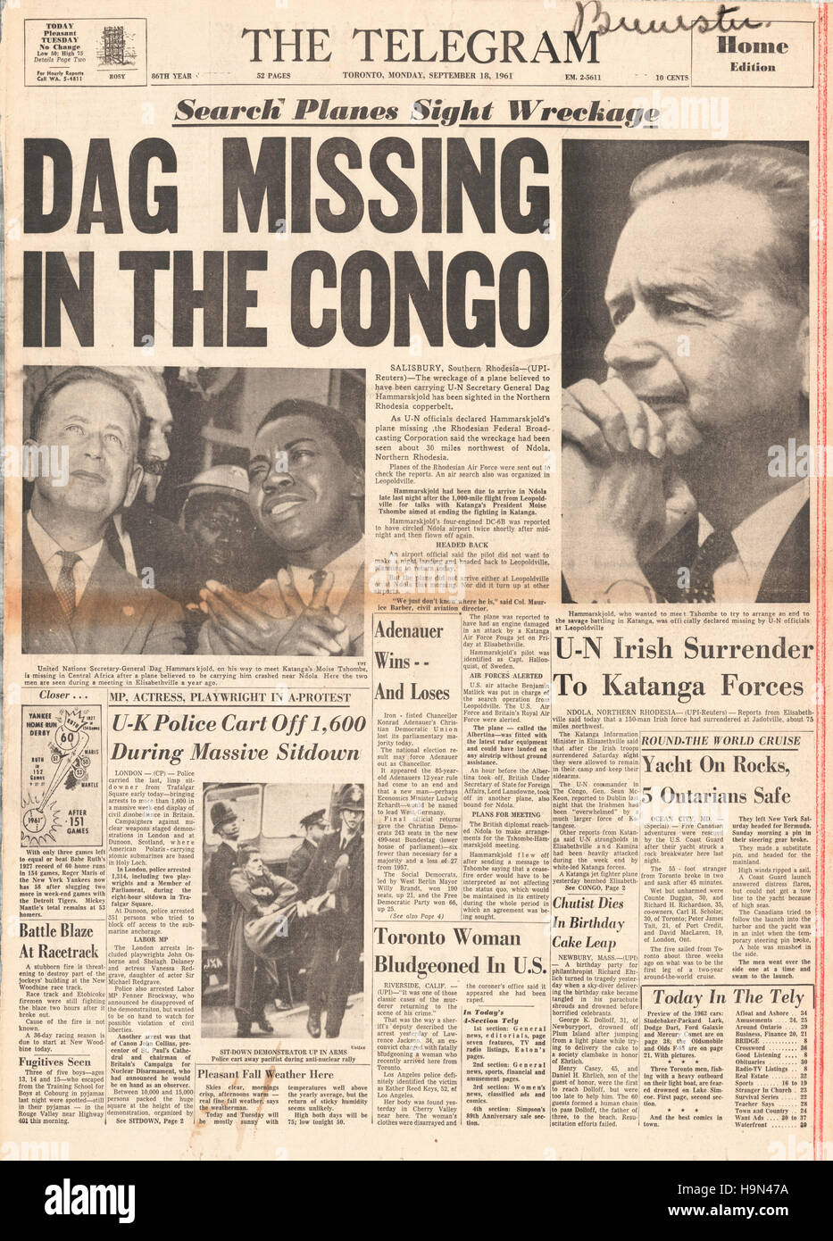 1961 The Telegram Canada Dag Hammarskjld Killed In Plane Crash Zambia