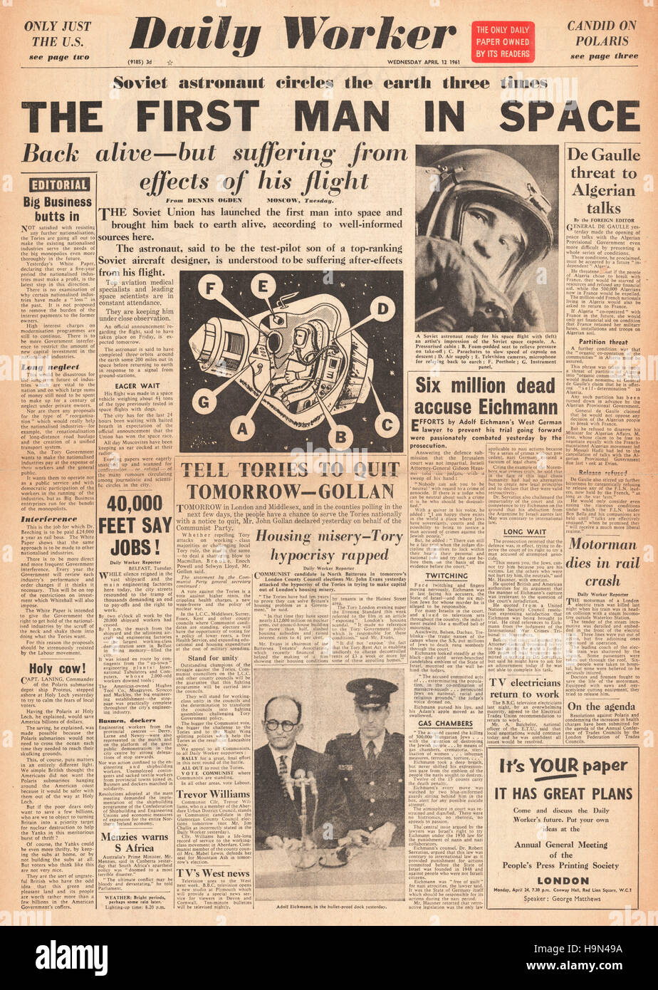 1961 Soviet newspaper front page Yuri Gagarin is first man in space Stock Photo
