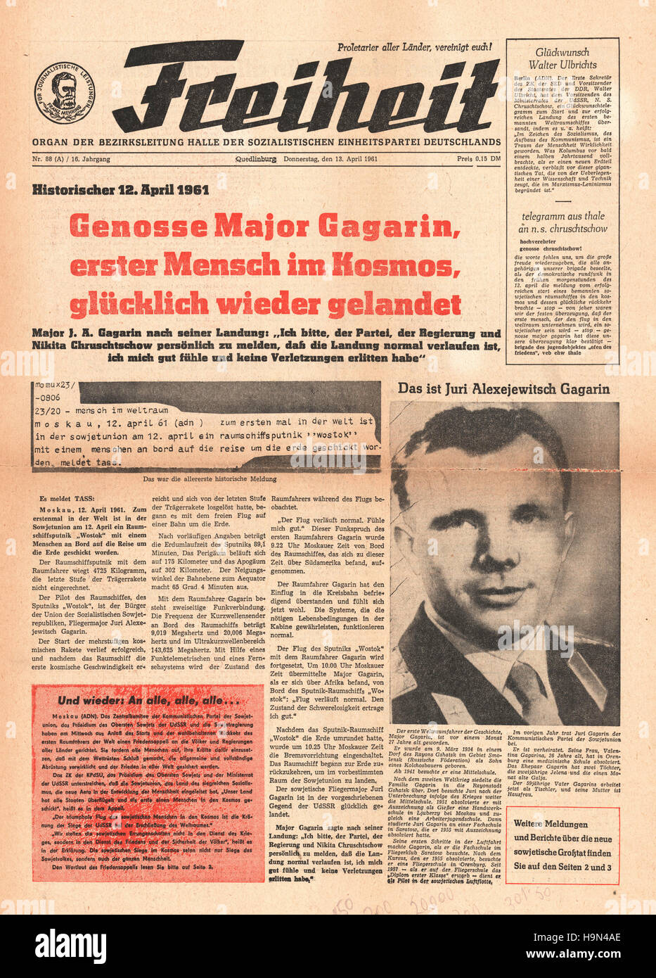 1961 Freiheit (Germany) front page Yuri Gagarin is first man in space - Stock Image