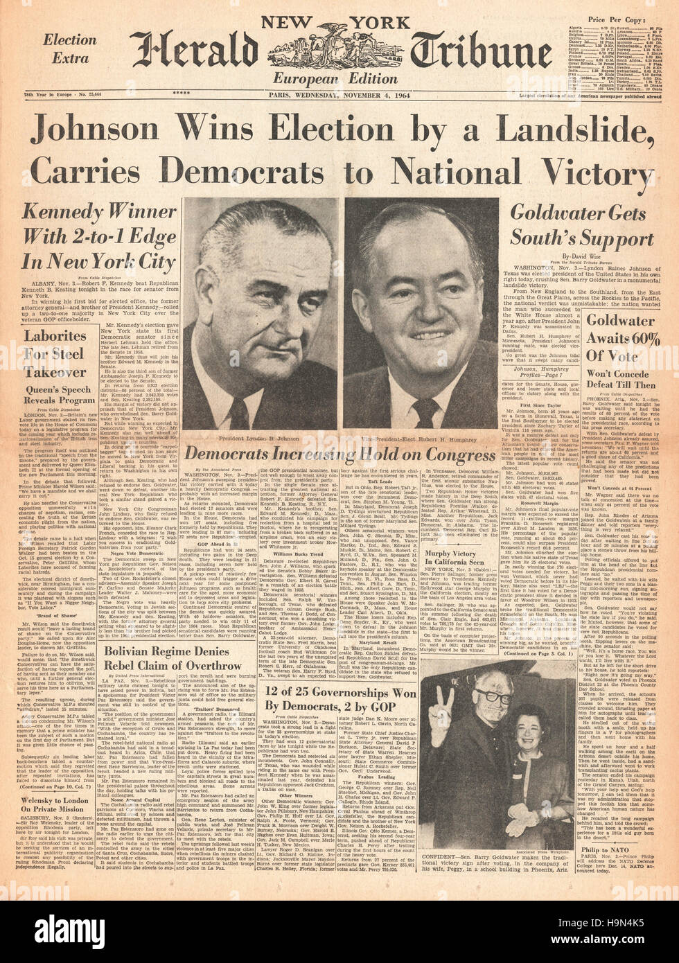 1964 New York Herald Tribune Lyndon B Johnson elected 36th President of the United States Stock Photo