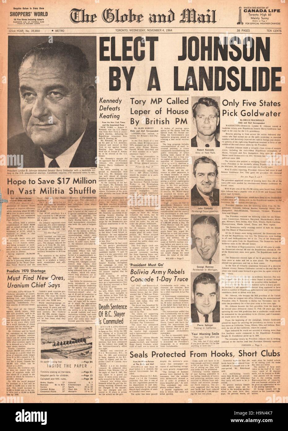 1964 Globe & Mail (Toronto)  Lyndon B Johnson elected 36th President of the United States Stock Photo
