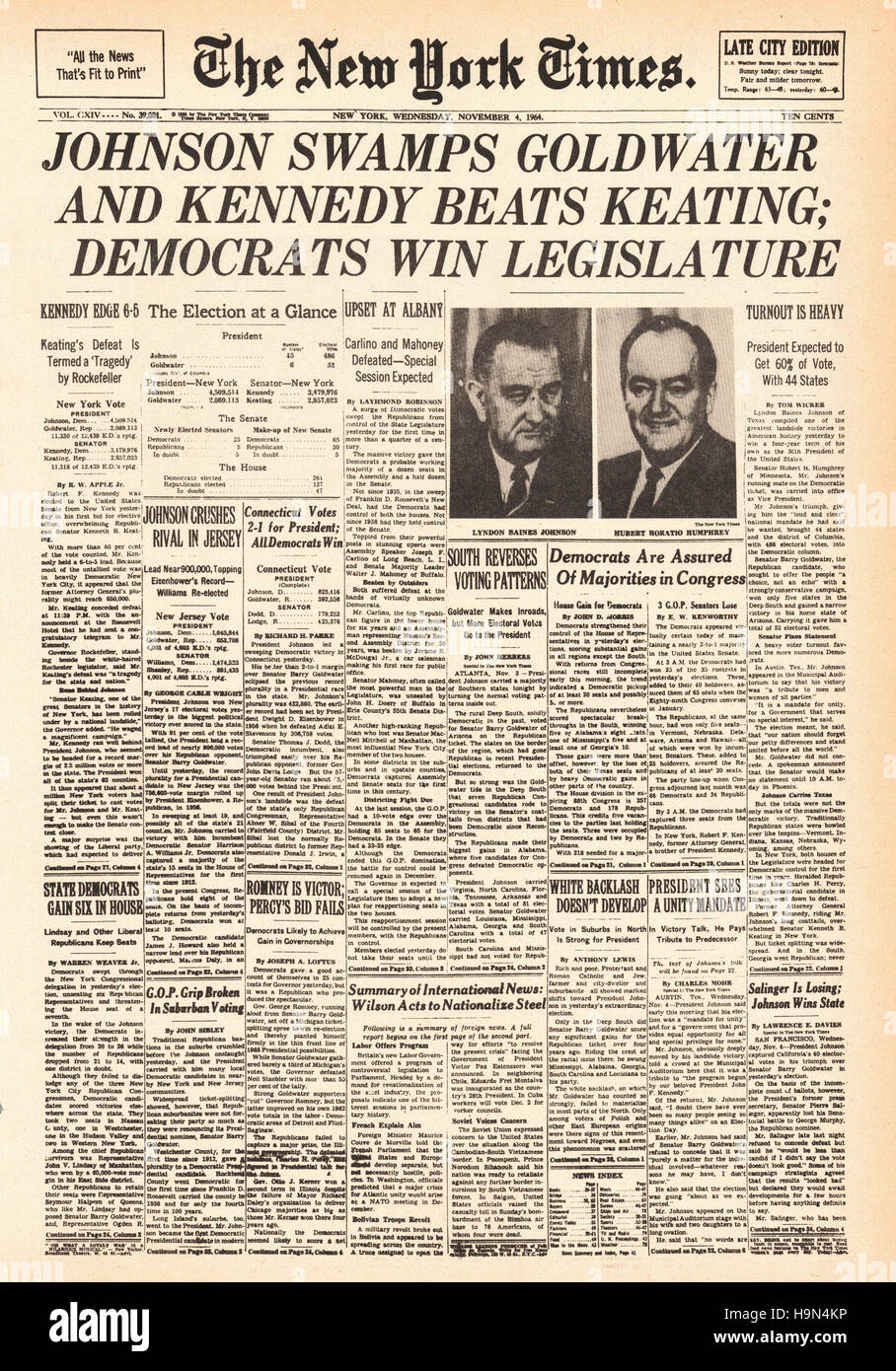 1964 New York Times Lyndon B Johnson elected 36th President of the United States Stock Photo
