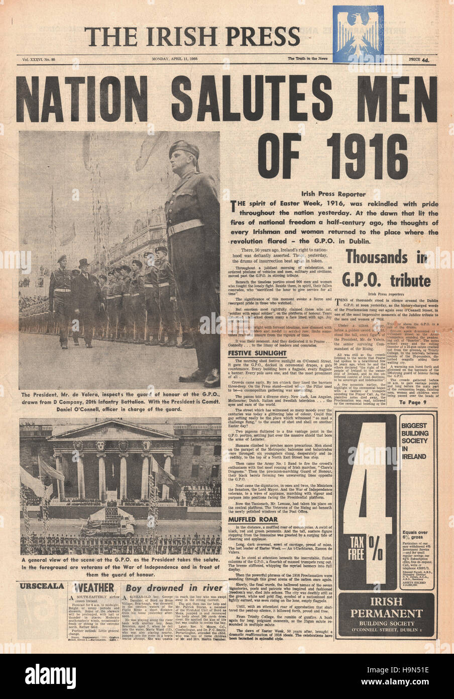 1966 Irish Press front page Centenary Parade of Easter Uprising - Stock Image