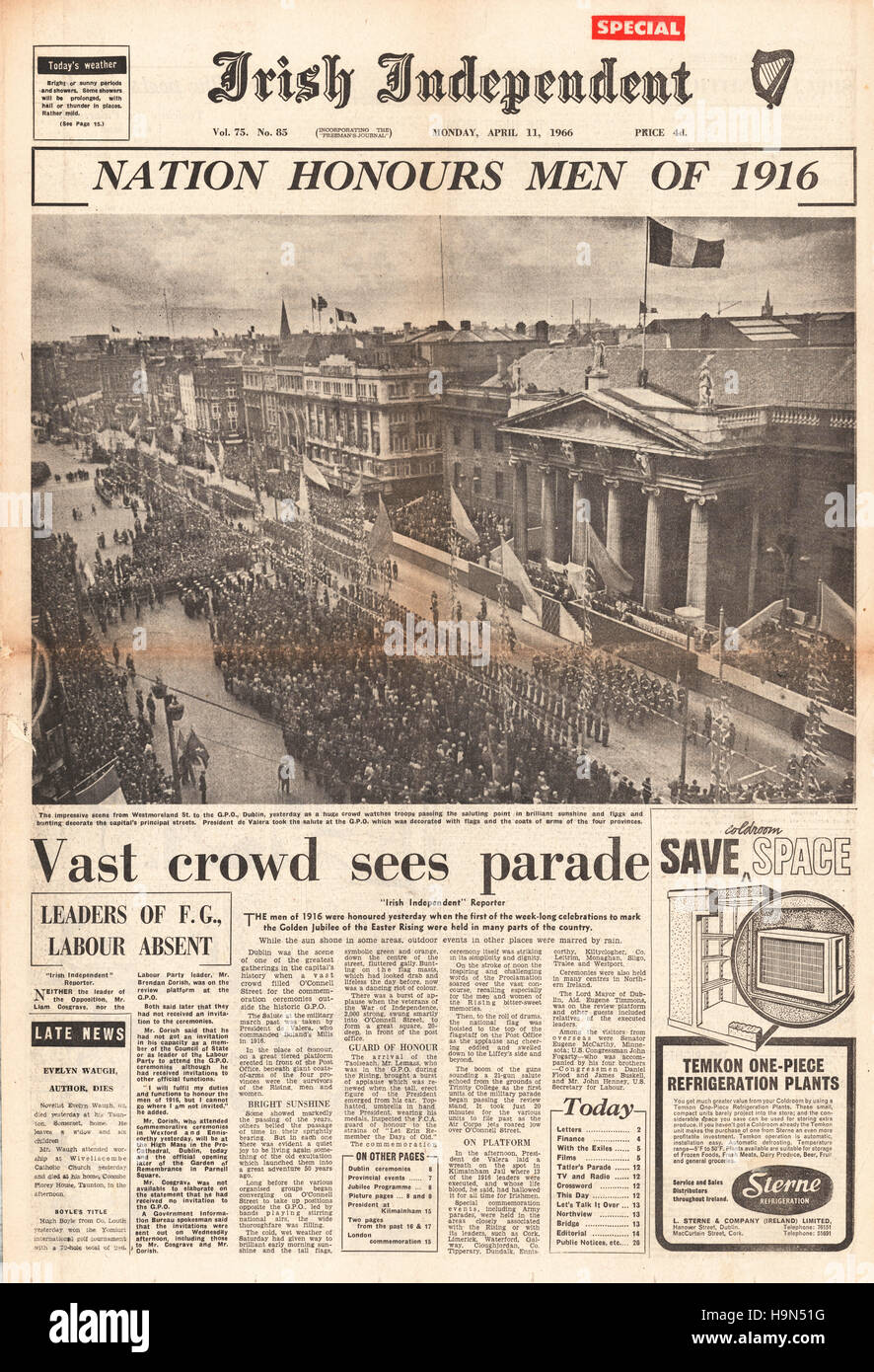 1966 Irish Independence front page Centenary Parade of Easter Uprising - Stock Image