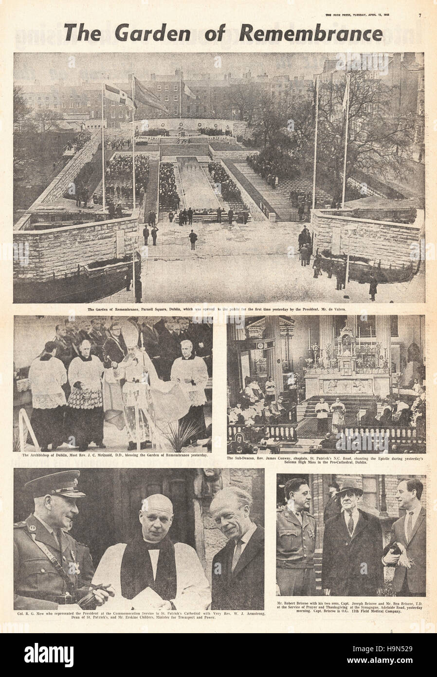 1966 Irish Press page 7 Memorial to Easter Uprising - Stock Image