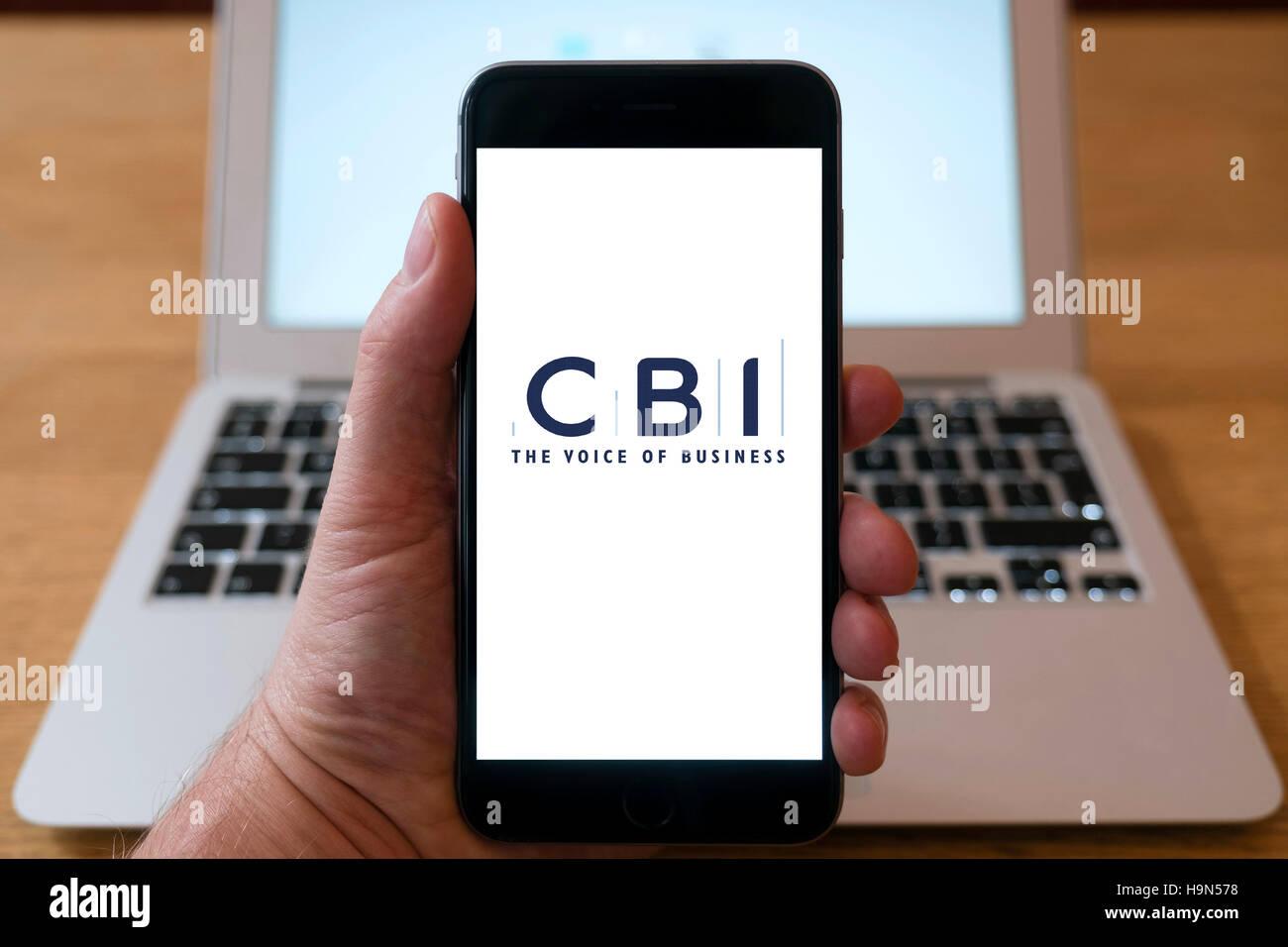 CBI business website on iPhone smart phone mobile phone - Stock Image