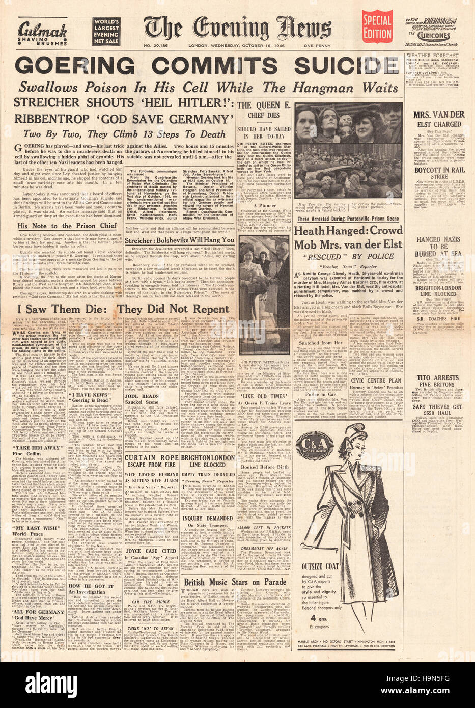 1946 Evening News (London) front page Herman Goering commits suicide Stock Photo