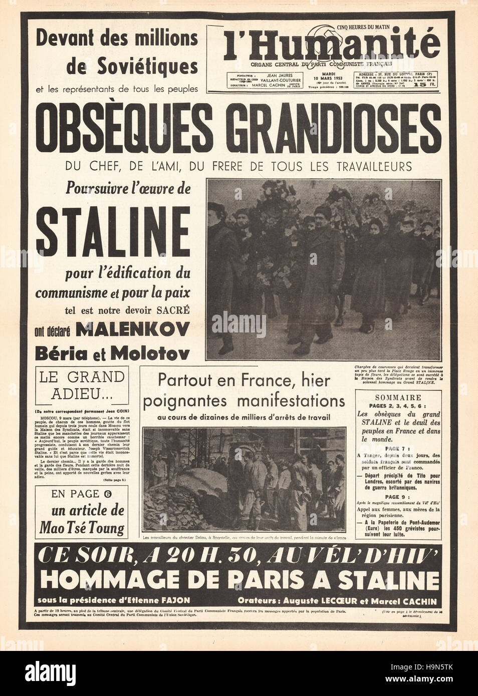 1953 l'Humanité (France) front page Funeral of Josef Stalin - Stock Image