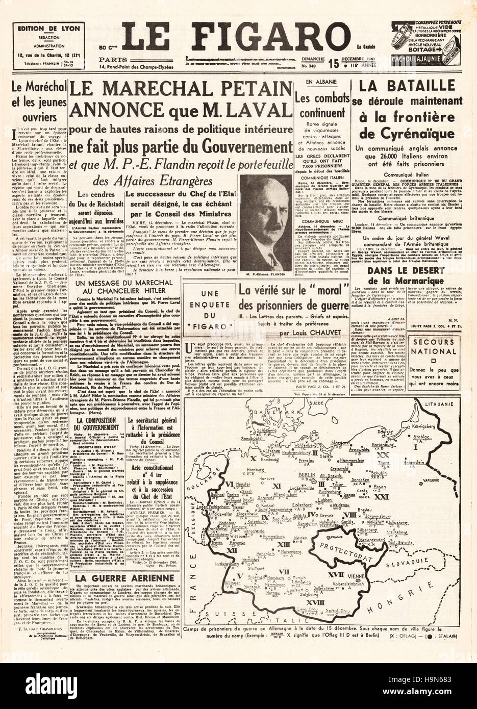 1940 Le Figaro front page Marshal Pétain dimisses Pierre Laval from the French government - Stock Image