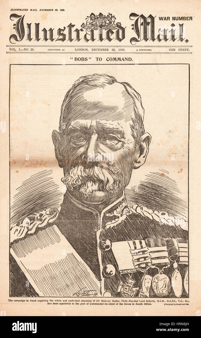 1899 Illustrated Mail front page Field-Marshal Lord Roberts - Stock Image