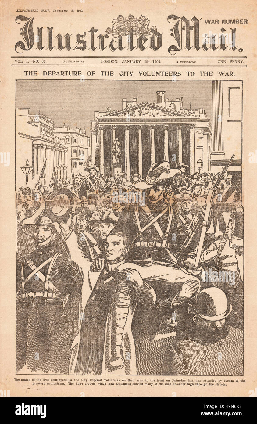 1900 Illustrated Mail Boer War volunteers march through the city of London - Stock Image