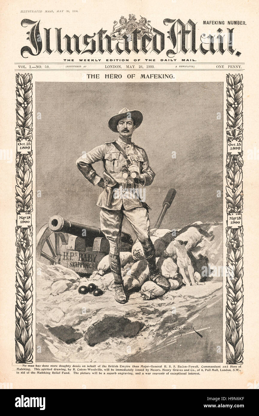 1900 Illustrated Mail front page Major General Baden-Powell - Stock Image