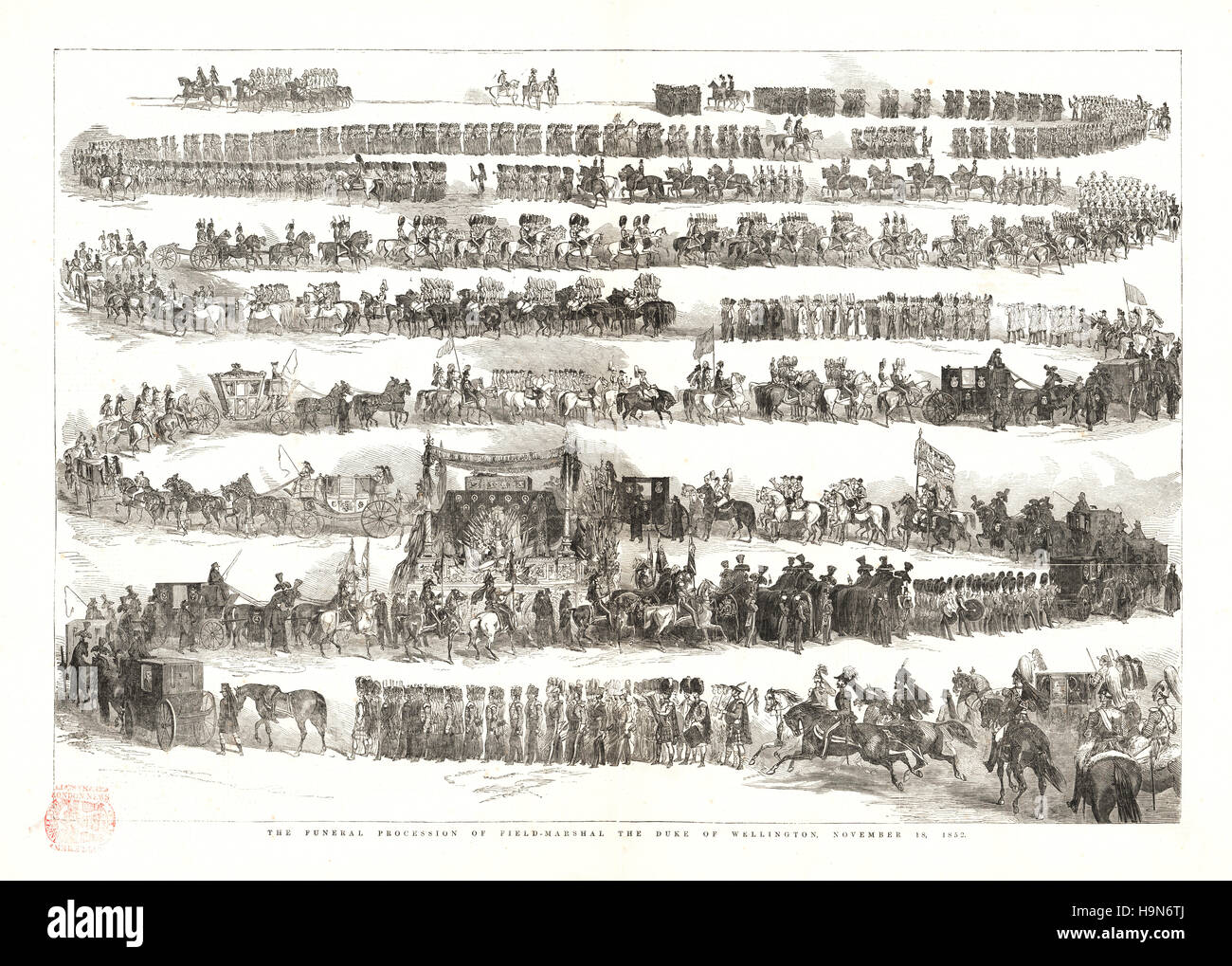 1853 Illustrated London News Funeral of the Duke of Wellington - Stock Image