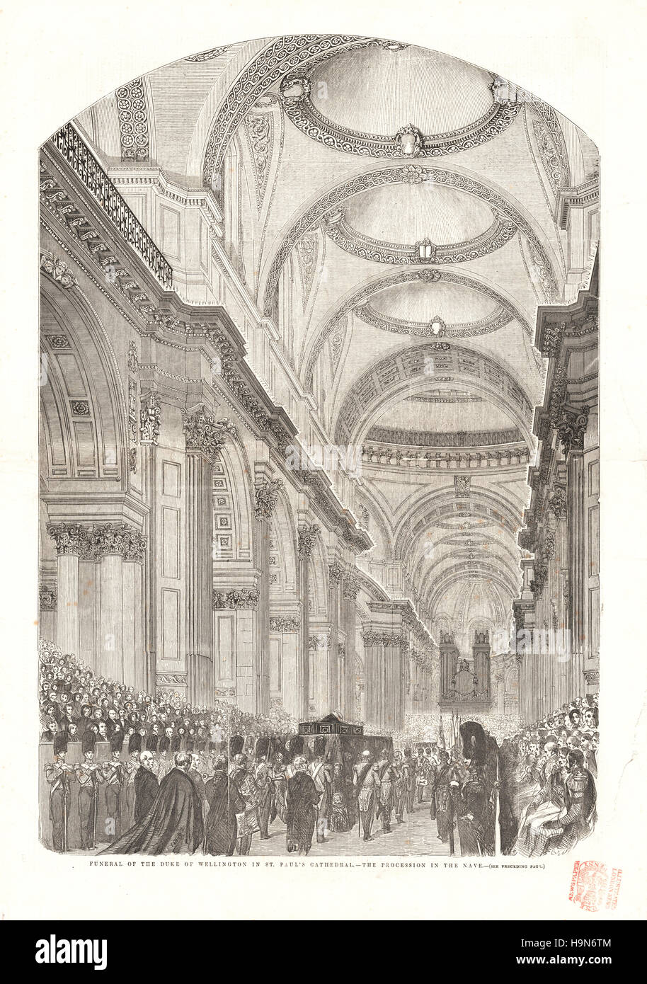 1852 Illustrated London News centre page Funeral of the Duke of Wellington - Stock Image