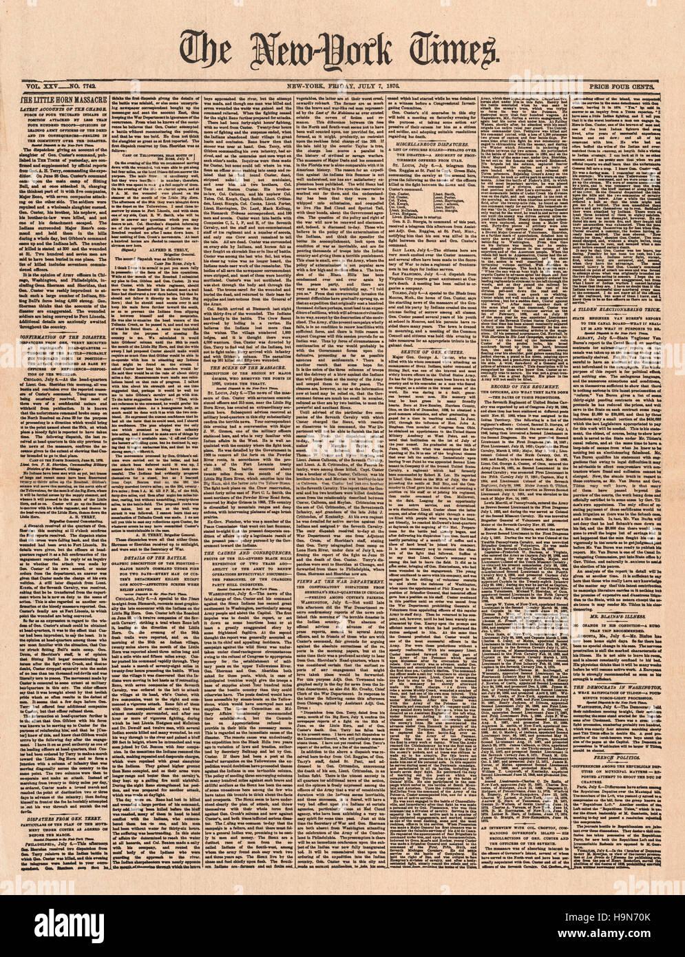1876 New York Times Battle of Little Bighorn Stock Photo