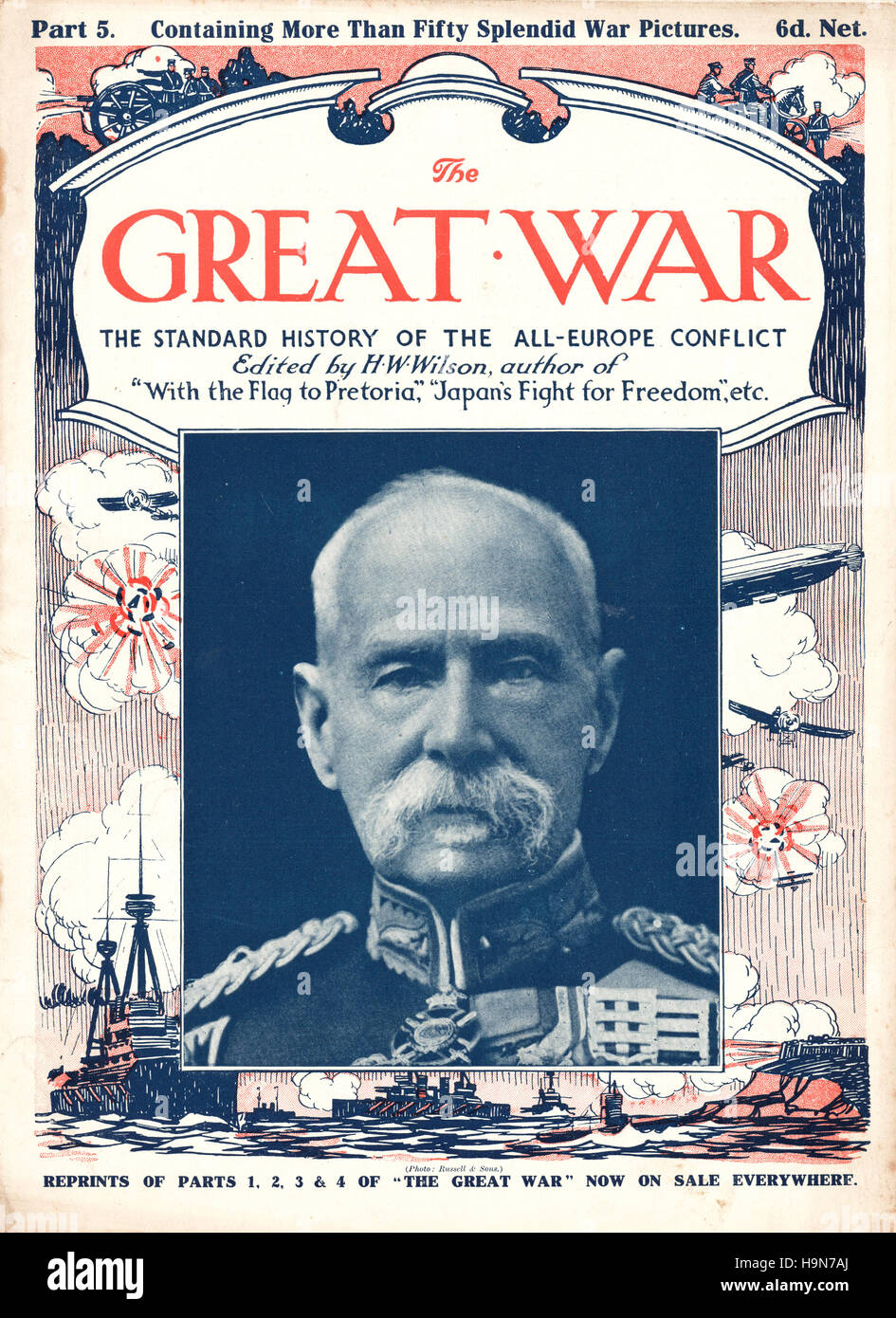 1914 The Great War front page Field Marshal Frederick Sleigh Roberts - Stock Image