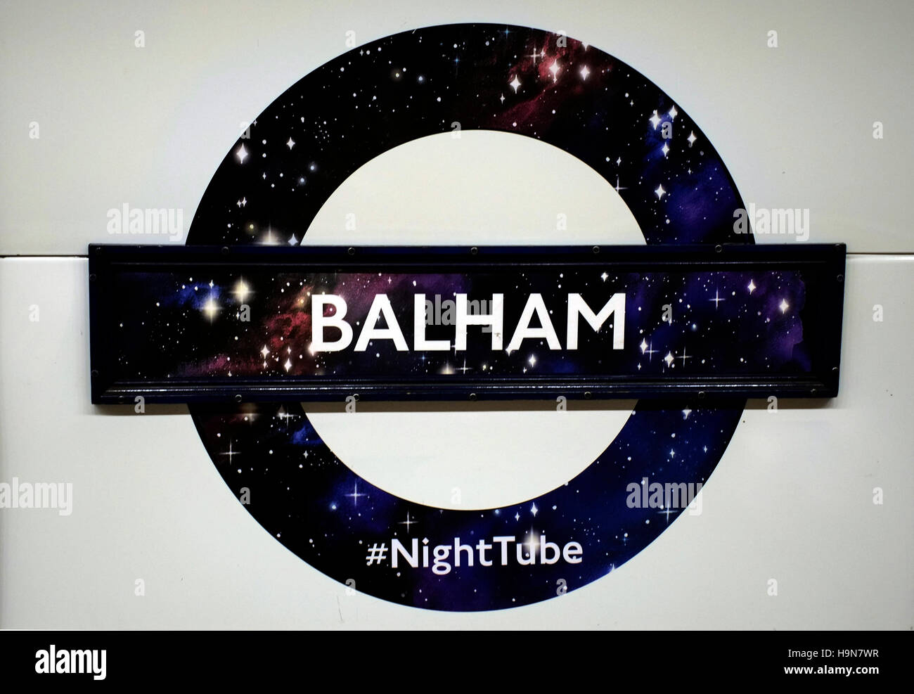 A London Underground Night Tube roundel is seen on Balham station, in London, Britain November 24, 2016.  © - Stock Image