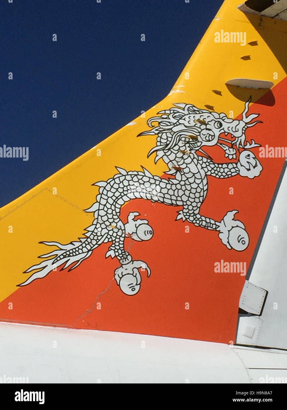 BHUTAN  National carrier Drukair tailplane. Photo Tony Gale - Stock Image