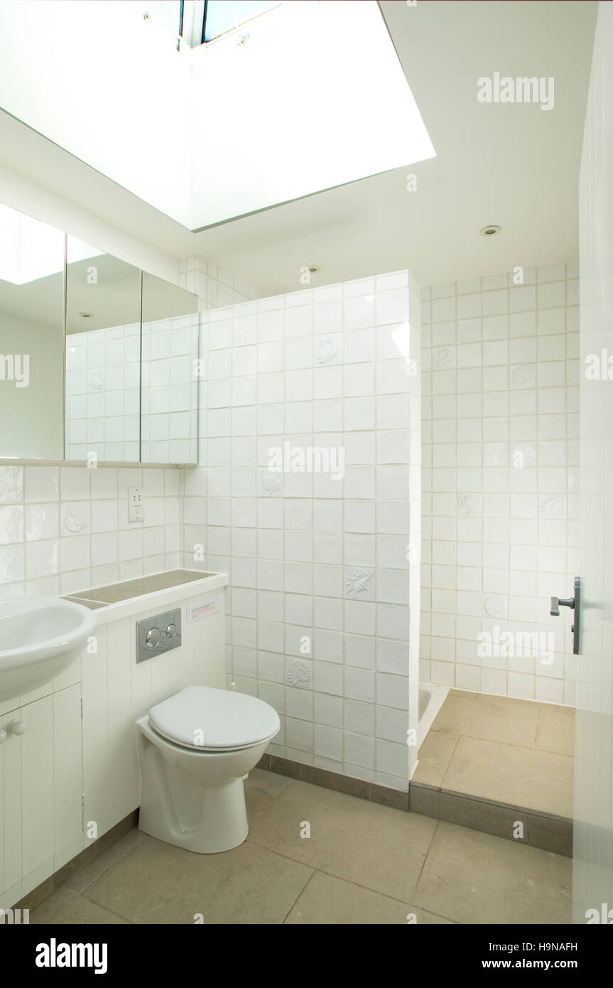white toilet and shower. - Stock Image