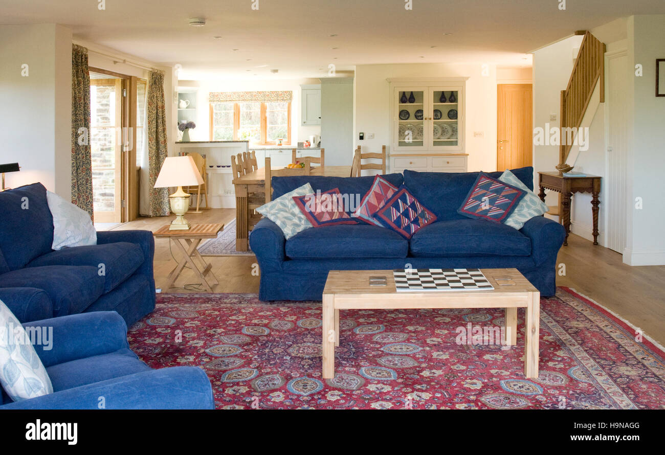 drawing room, with blue sofa's - Stock Image
