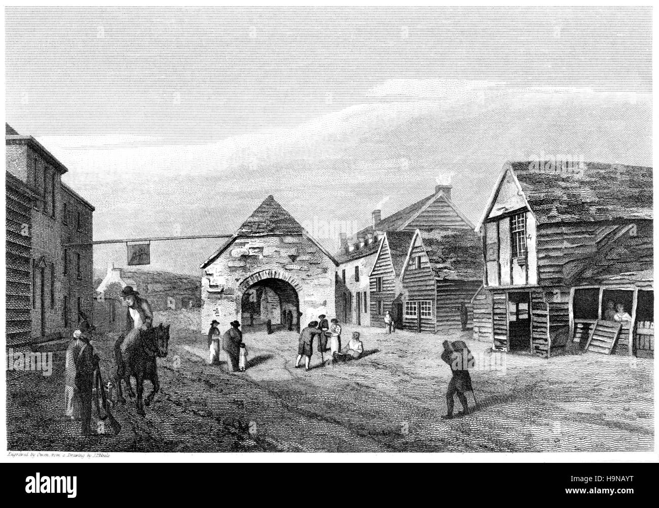 An engraving of Rhayader, Radnorshire scanned at high resolution from a book printed in 1812. Believed copyright - Stock Image