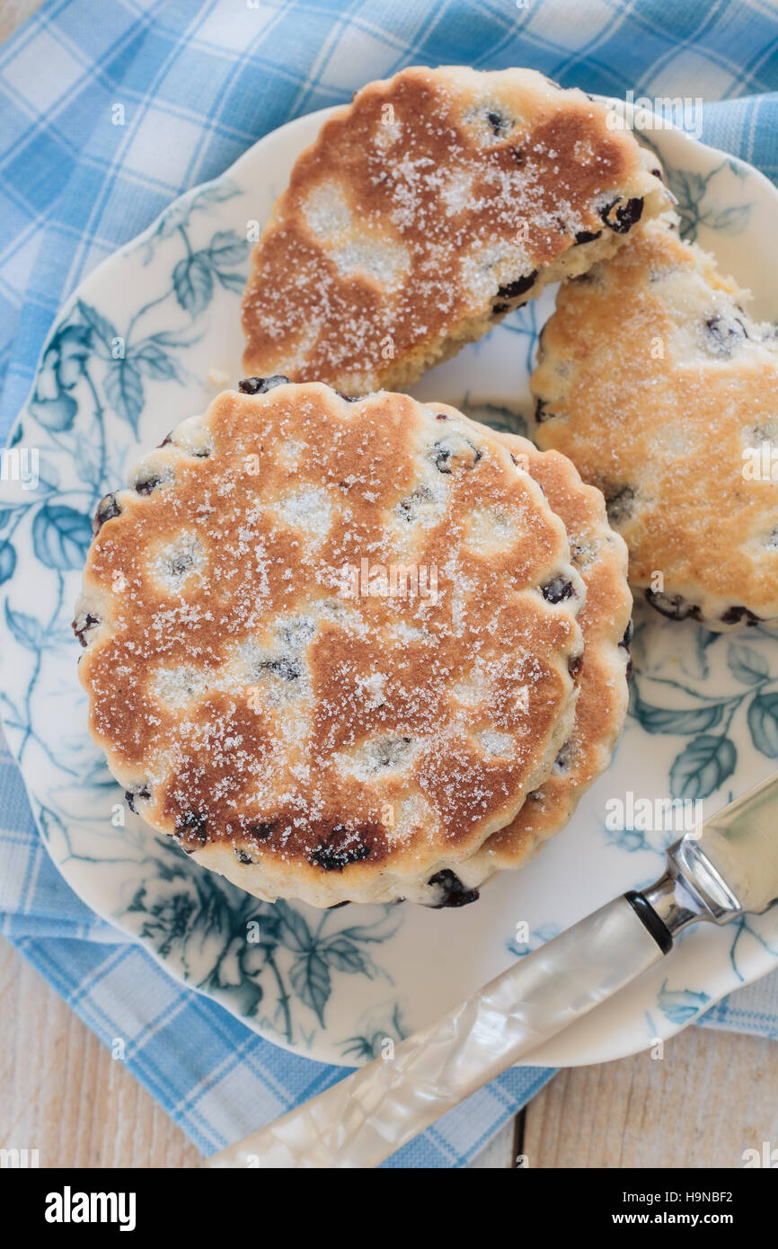 Welsh cakes a traditional griddle cake made with dried fruit top down view - Stock Image