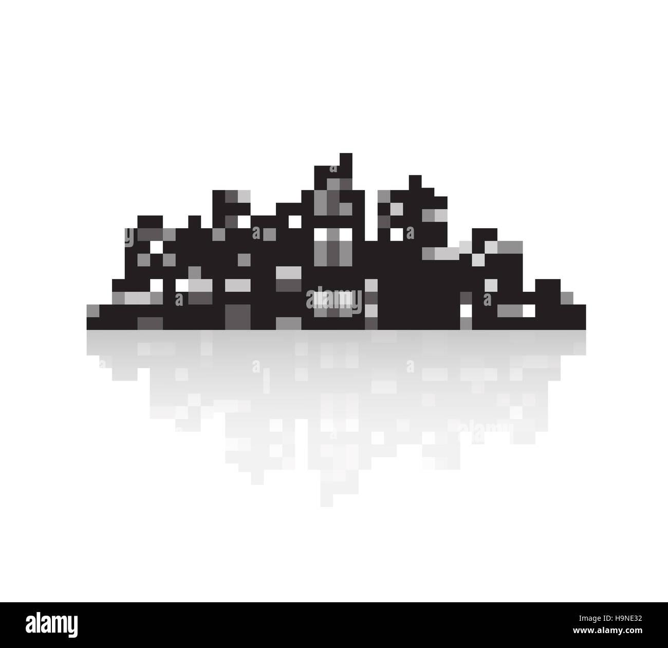 Silhouette of a modern city in style pixel art - Stock Image