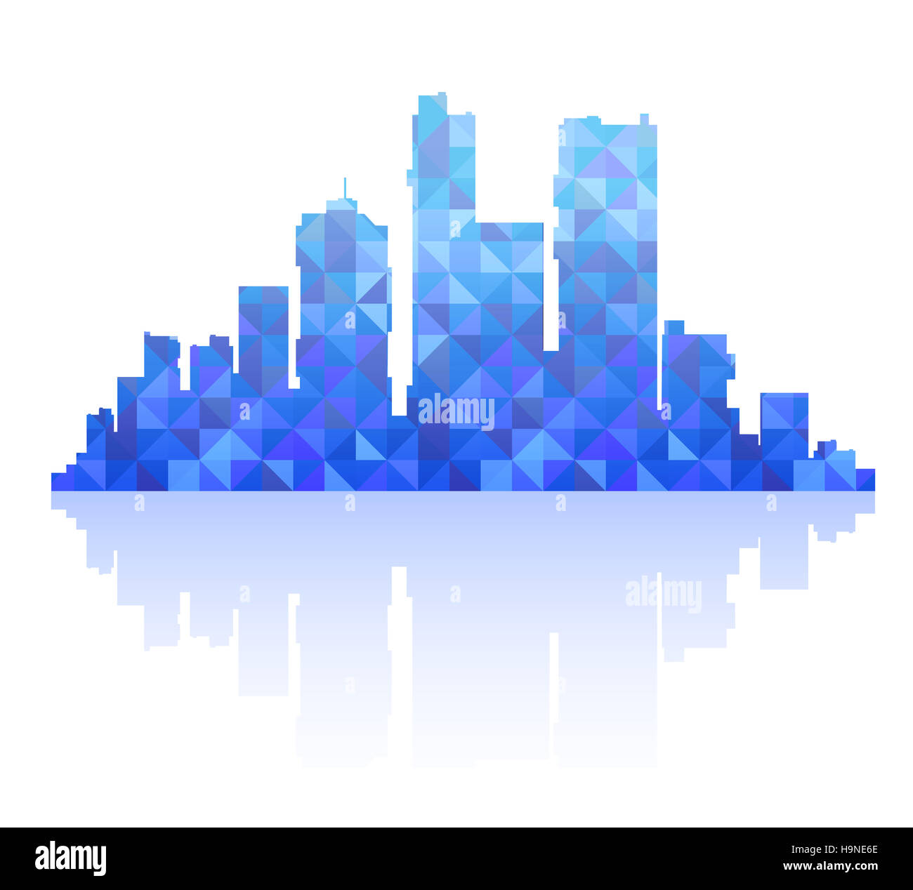 Silhouette of a city landscape with skyscrapers and city buildings - Stock Image