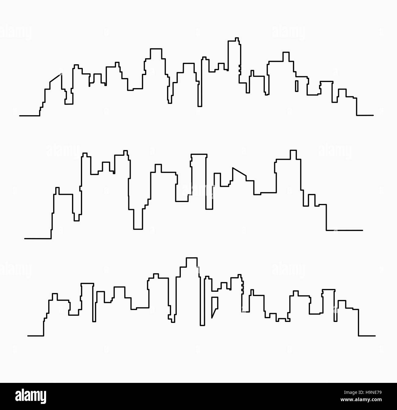 set of linear urban buildings landscape and illustrations of houses and architectural city - Stock Image