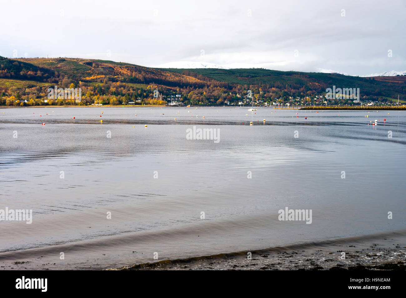 The Inky Waters of Gare Loch near Rhu on a Cold Autumn Morning Scotland United Kingdom UK - Stock Image
