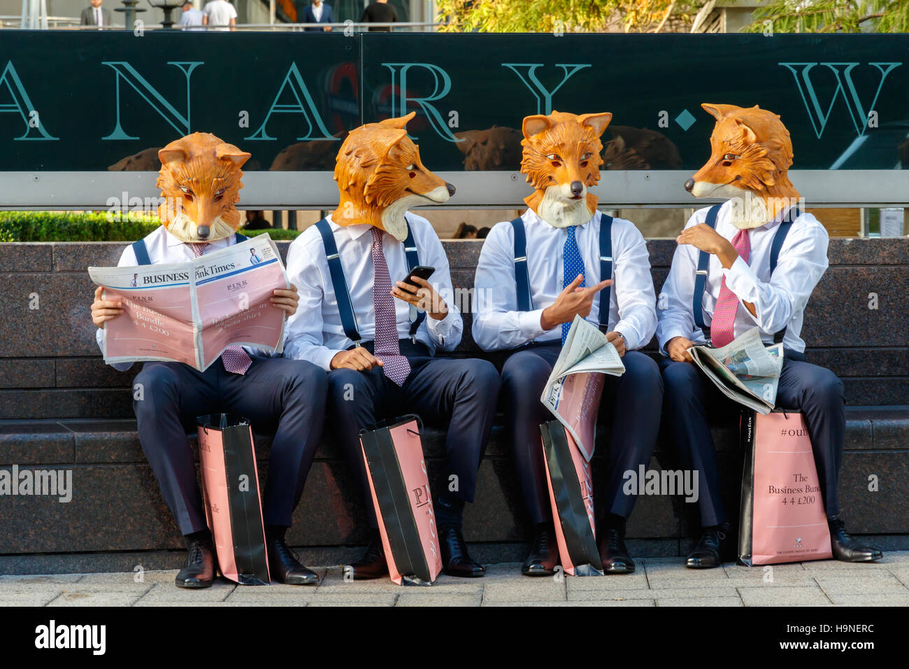 London, UK - September 21, 2016 - Quirky street promotional campaign from Thomas Pink in Canary Wharf - Stock Image