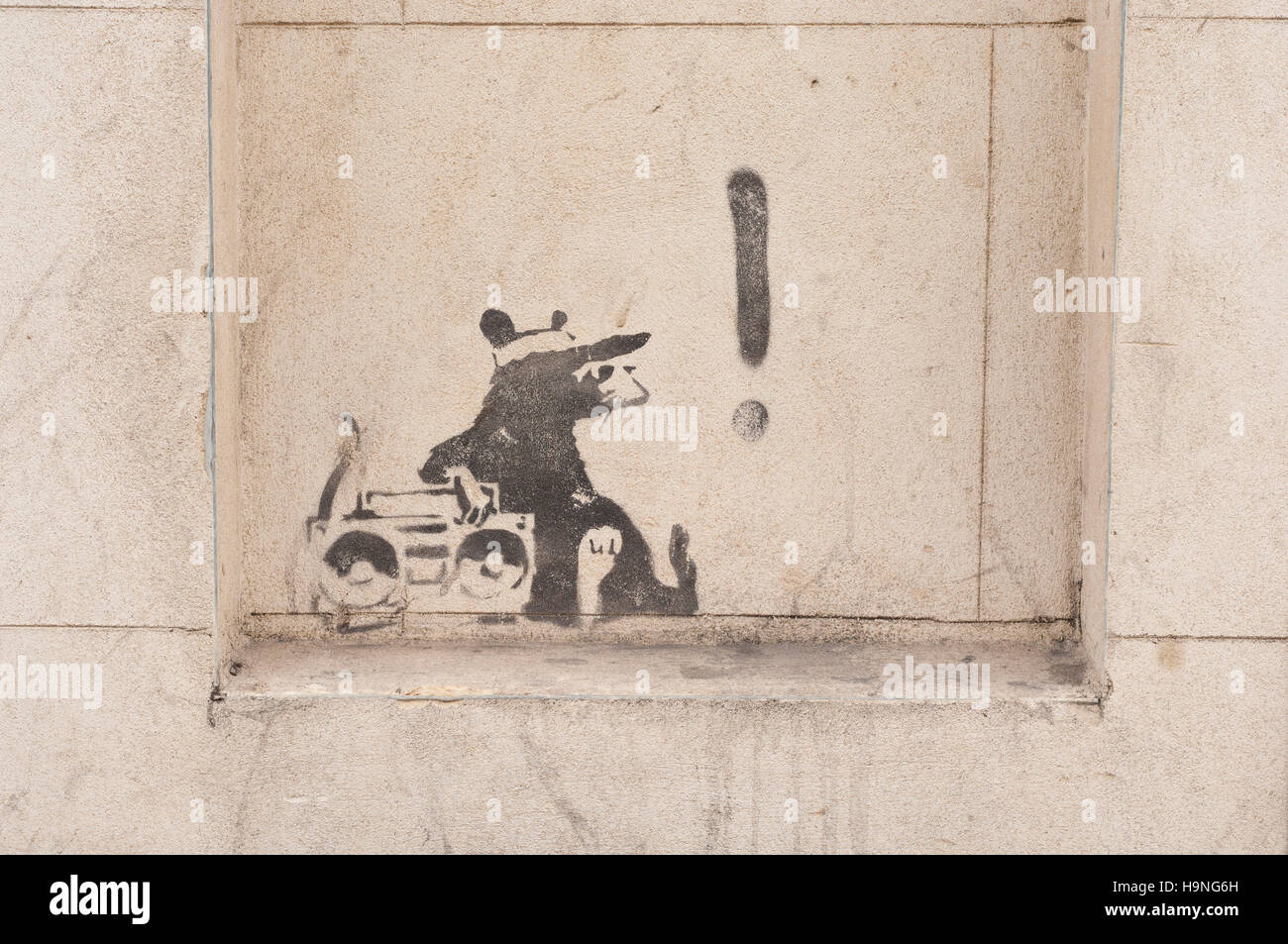 A ghetto blaster rat by the Street Artist Banksy, Commercial Street, London EC2, Britain. - Stock Image