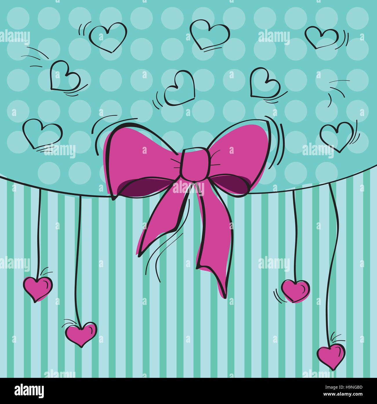 Valentines composition of the hearts. Vector illustration - Stock Image