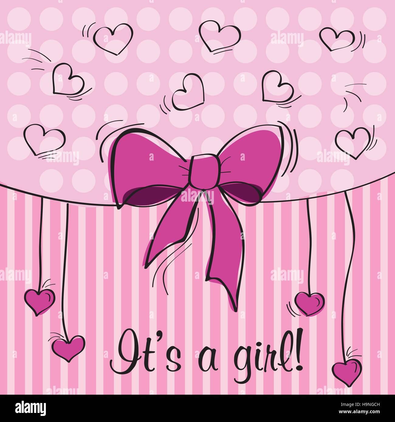 Baby girl shower card  - pink design - vector illustration - Stock Image