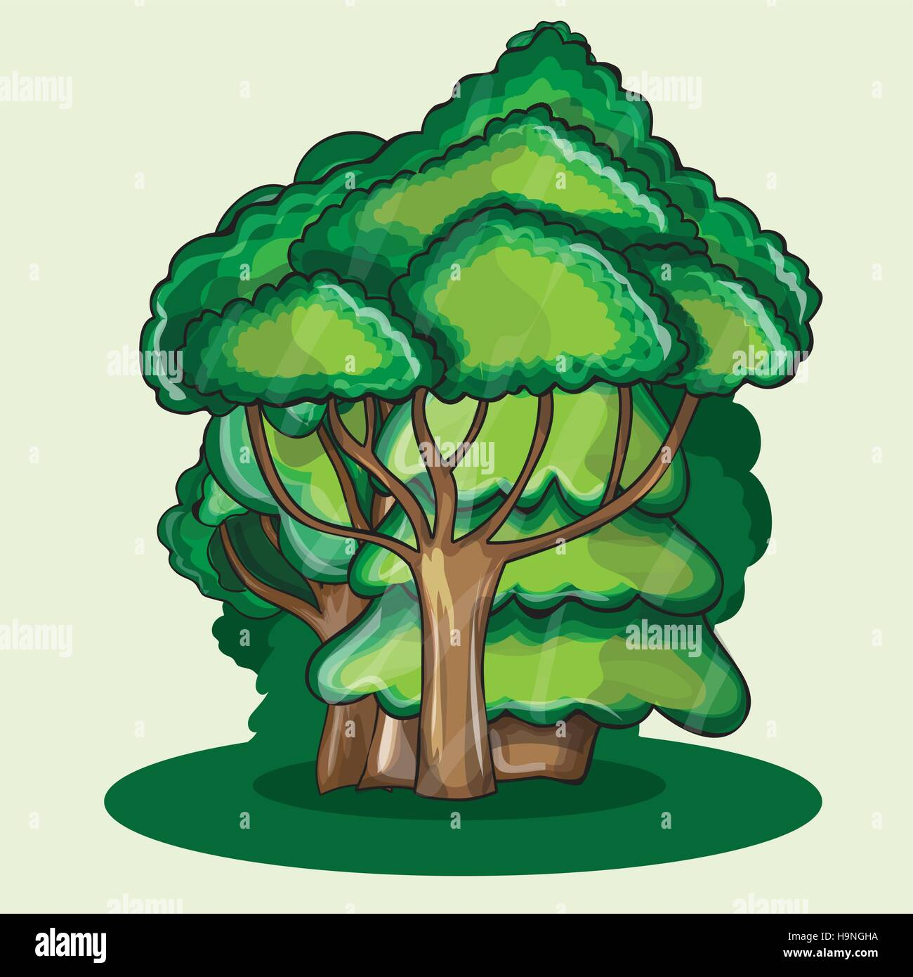 Wood against a cloud  - cartoon vector illustration - Stock Image