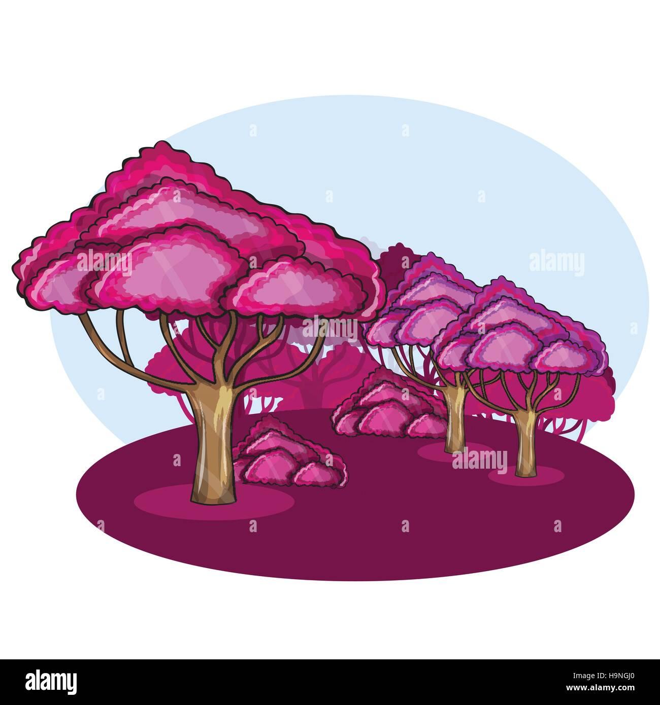 Pink Wood against a cloud  - cartoon vector illustration - Stock Vector