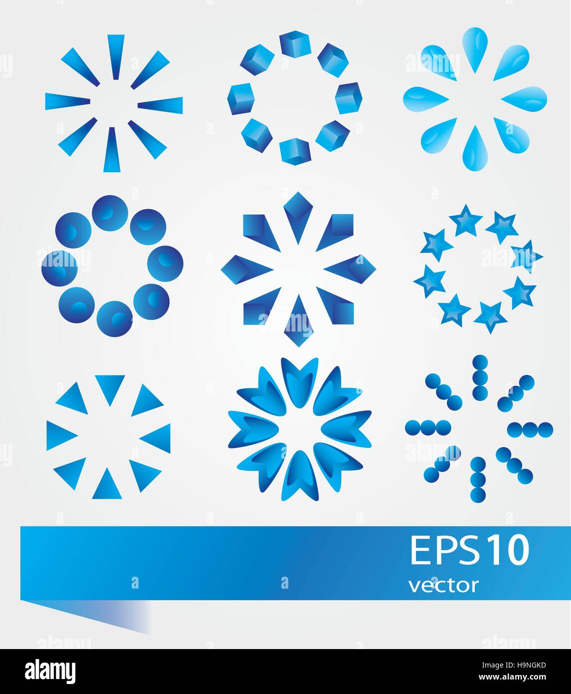 Collection of modern preloaders - vector signs set - Stock Image