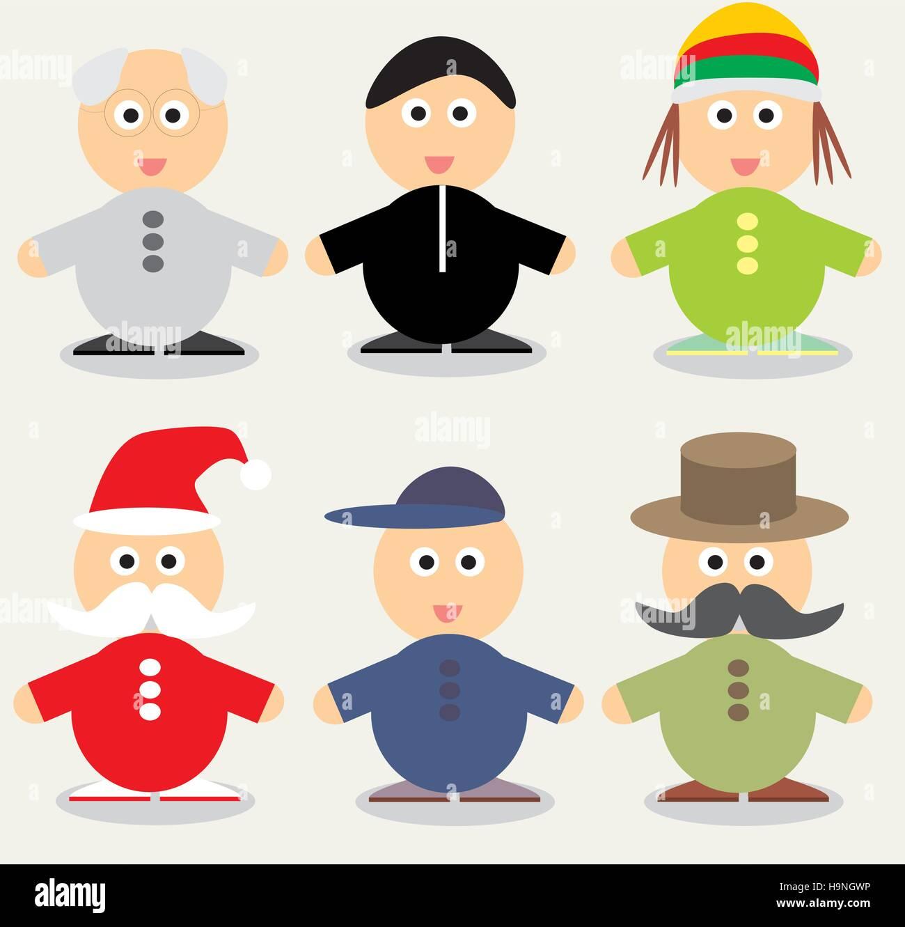 Funny cartoon character - Vector illustration - people Set - Stock Vector