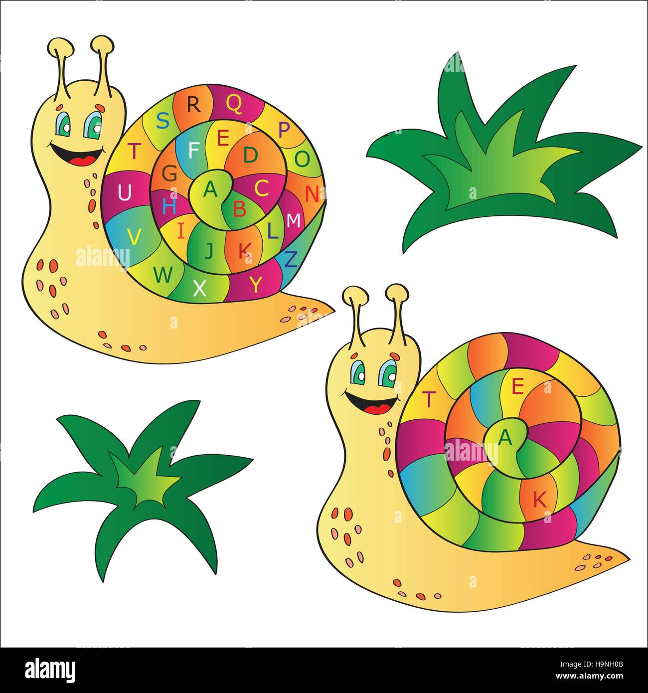 Vector illustration of a snail - a puzzle for child - Stock Vector