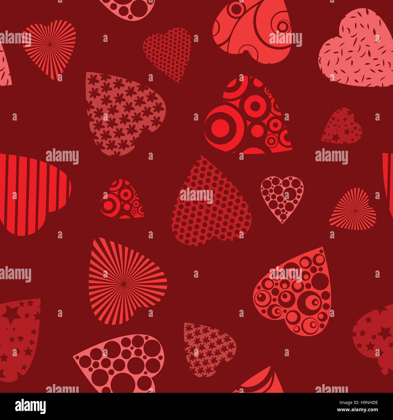 Seamless pattern with hearts - Vector illustration for design - Stock Image