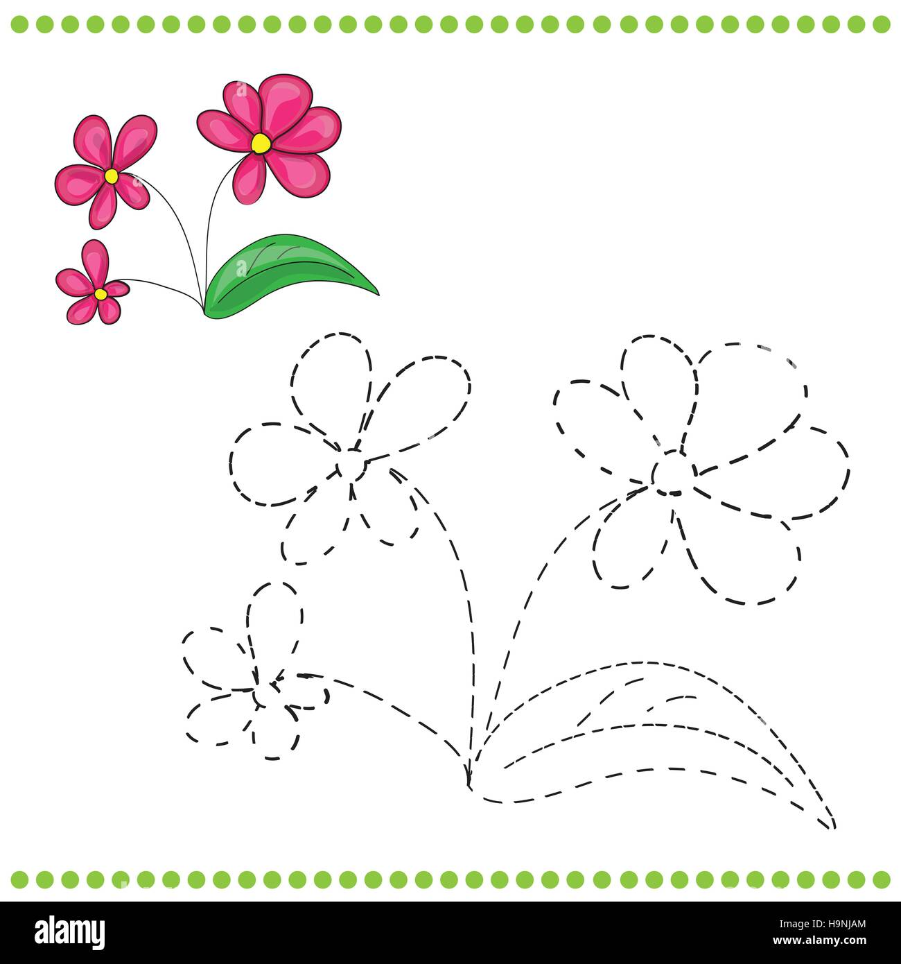 Connect The Dots And Coloring Page With Grass And Flowers Stock