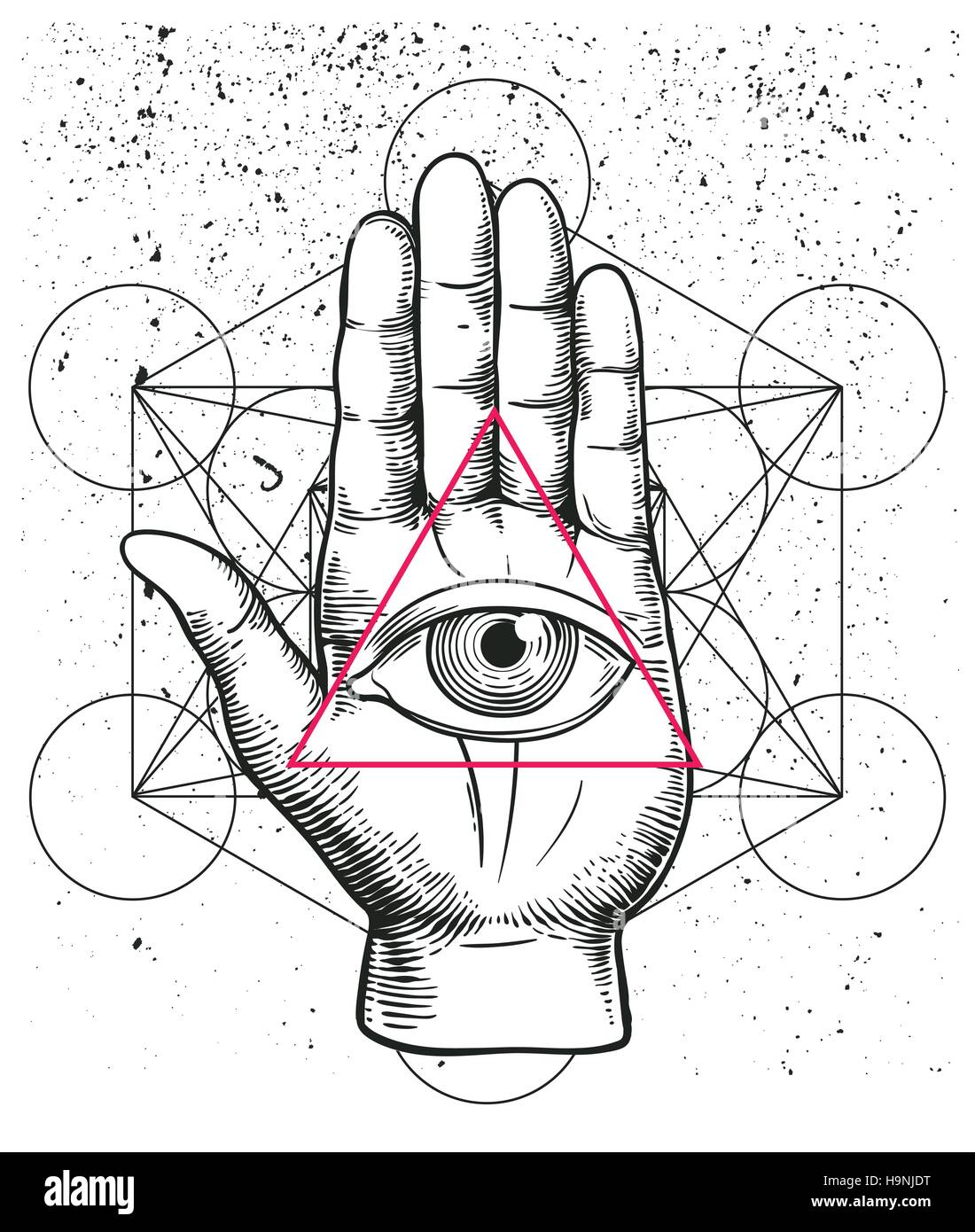 90a49bb29b3d7 Hipster illustration with sacred geometry, hand, and all seeing eye symbol  nside triangle pyramid. Eye of Providence. Masonic symbol. Grunge Esoteric