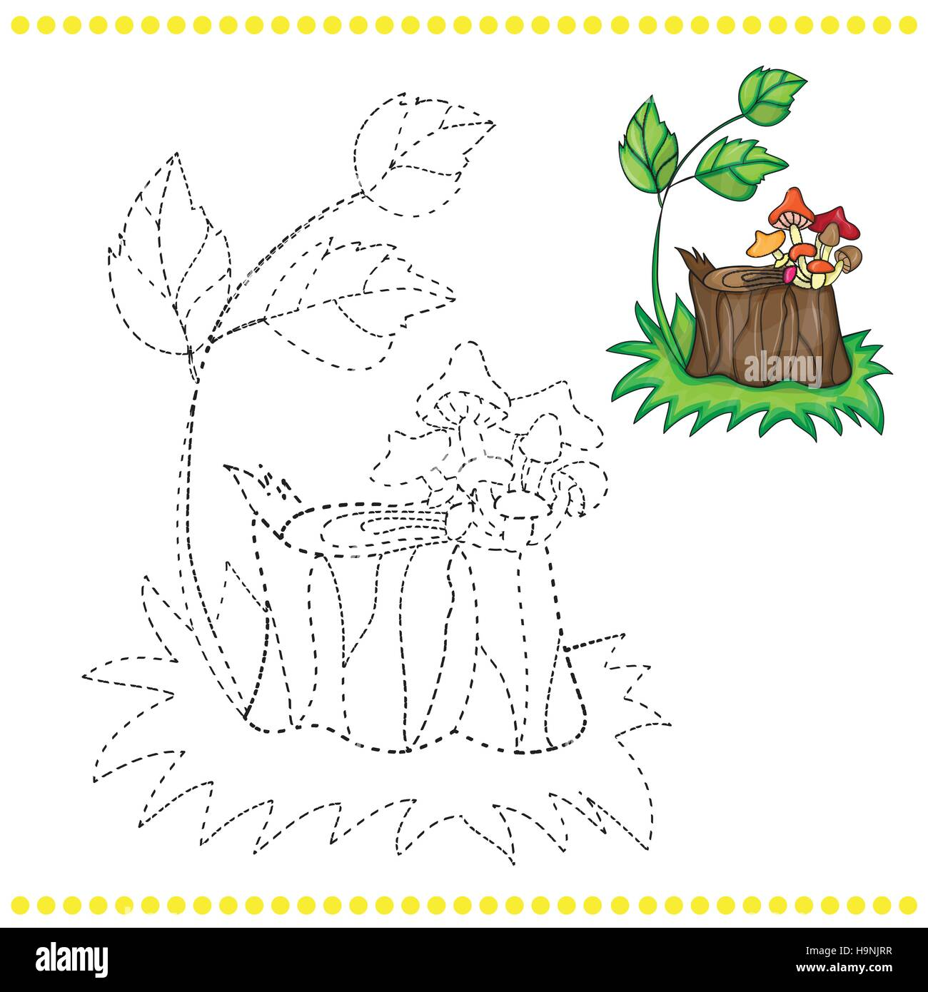 Connect the dots and coloring page - grass, stump and mushrooms - Stock Vector