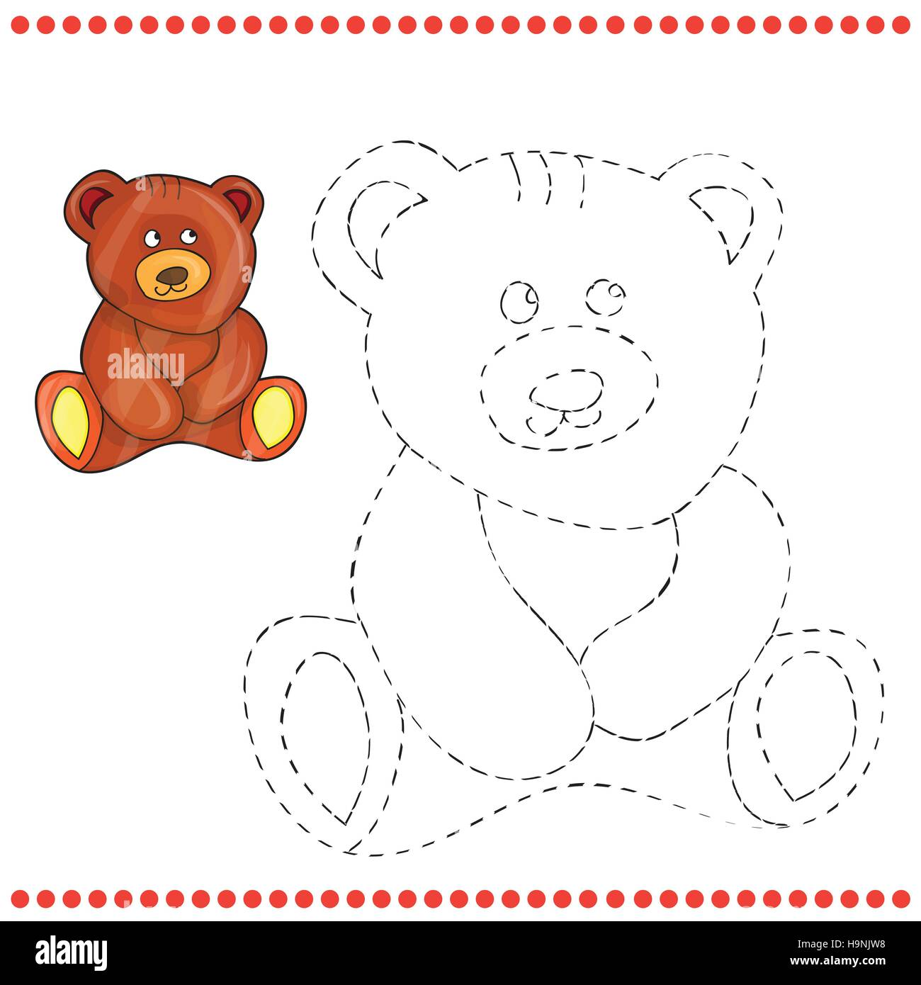 Connect the dots and coloring page - teddy bear - Stock Vector